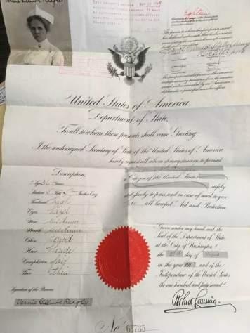 Vernie Gilmore passport during World War I to serve as a nurse.