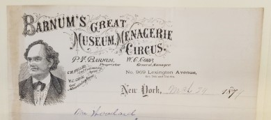Original P. T. Barnum Letterhead found in the collection