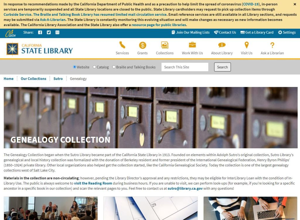 Screenshot of the Sutro Library's Genealogy webpage as it appears now.