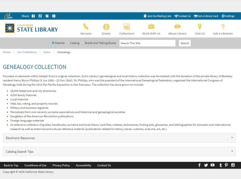 Screenshot of the Sutro Library's Genealogy page after redesign on February 2, 2018.
