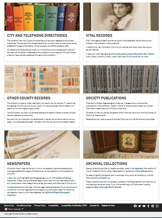 Screenshot of bottom half of new Physical Collections page.