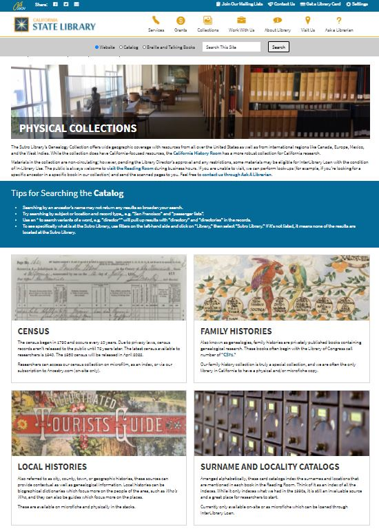 Screenshot of the top half of new Physical Collections page.