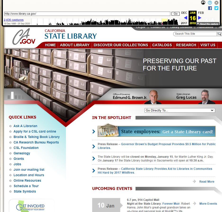 """Archived page of """"www.library.ca.gov"""" as it appeared on January 16, 2018."""
