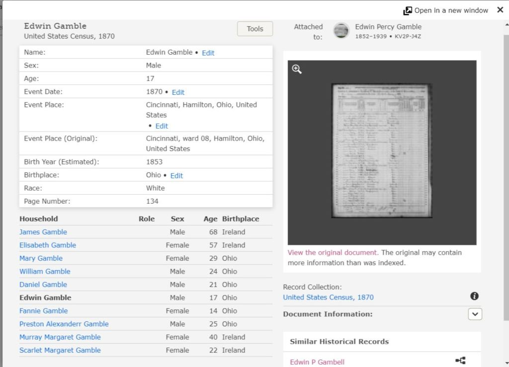 Screenshot of abstract for Edwin Gamble 1870 US Census record