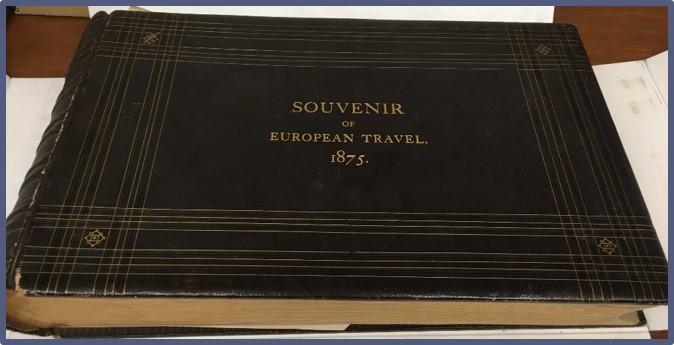 "Cover of photo album titled ""Souvenir of European Travel 1875."""