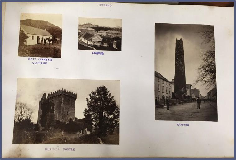Photos historic sites in Ireland inside album from 1875