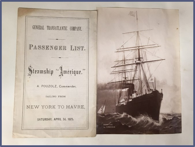 """Souvenir passenger list for """"Amerique"""" and a photo of the ship to the right of it."""