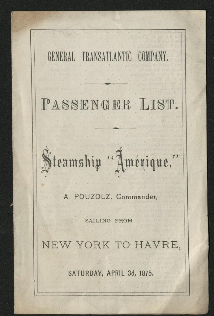 "Cover of souvenir passenger list of steamship ""Amerique"" from 1875"
