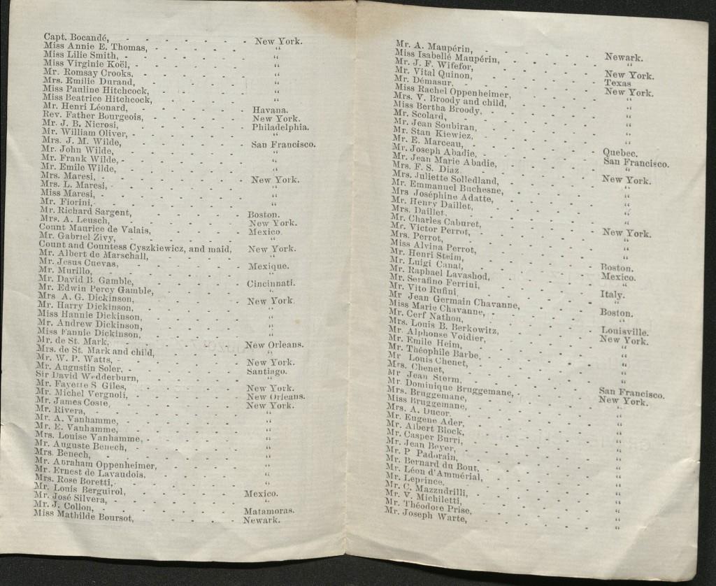 "Inside view of souvenir passenger list of steamship ""Amerique"" from 1875."